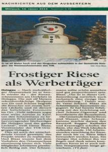 Tiroler Tageszeitung berichtet über den Schneemann in Holzgau.