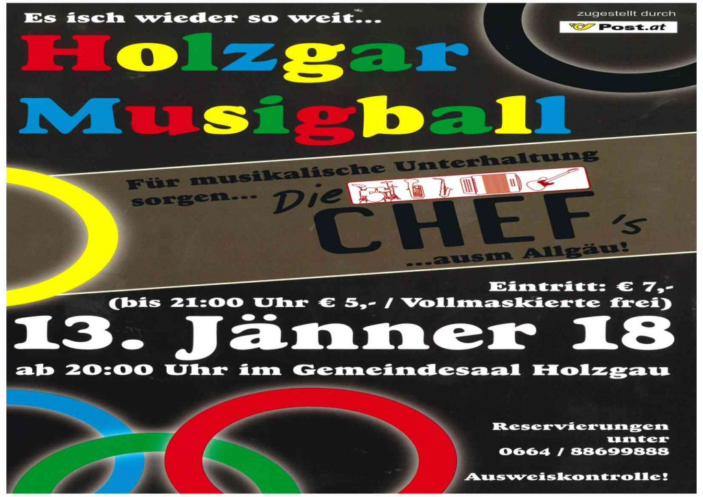 13-01-2018 Musikball Holzgau im Gemeindesaal Flyer