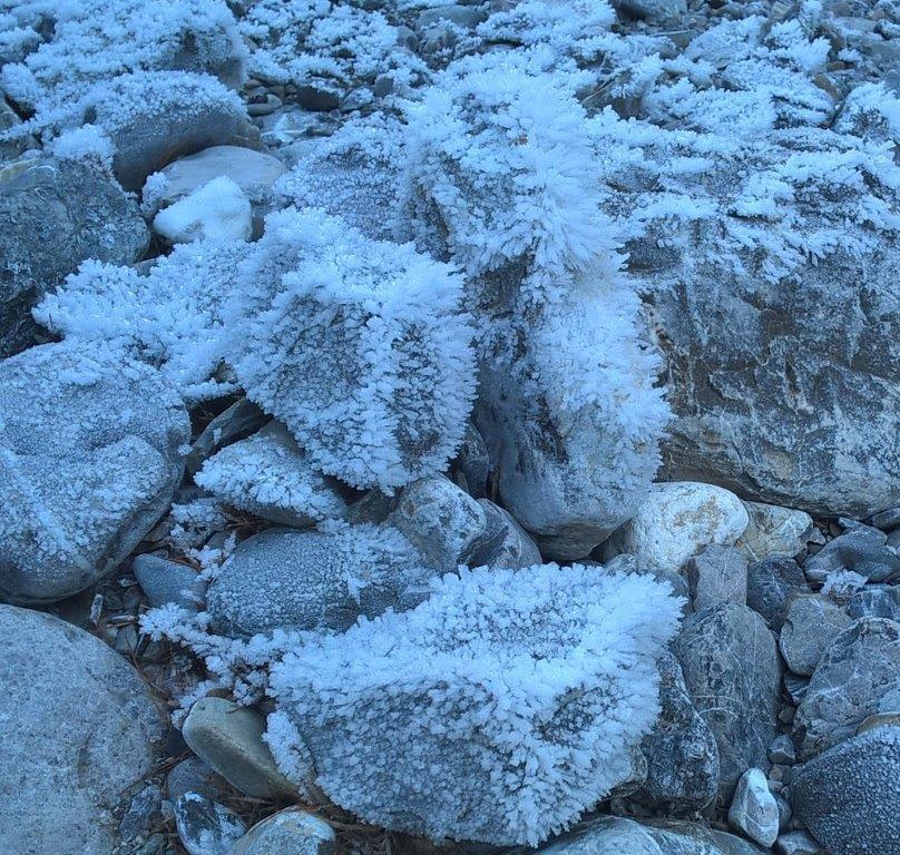 Gegen die Windrichtung ausgeprägte Raureifkristalle.