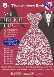 """Flyer Theater Bach 4 Gang Menü """"Wir trauen uns"""". Krimmidinner"""