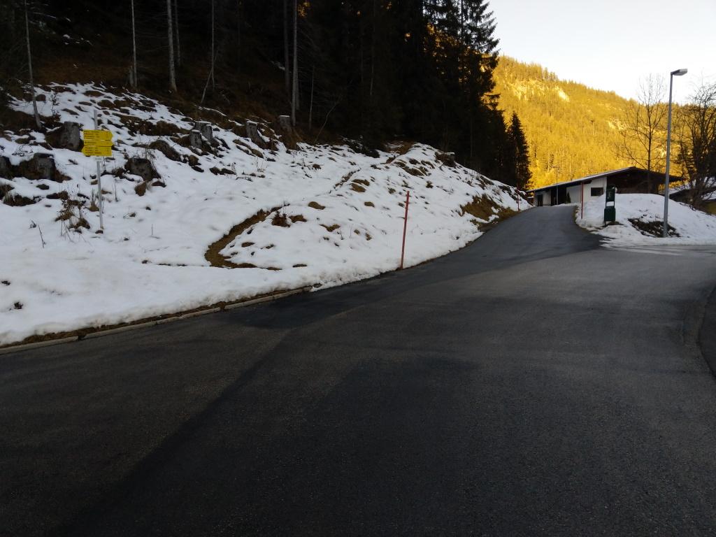Straßenabzweigung oberhalb Schröfle Vorderhornbach.