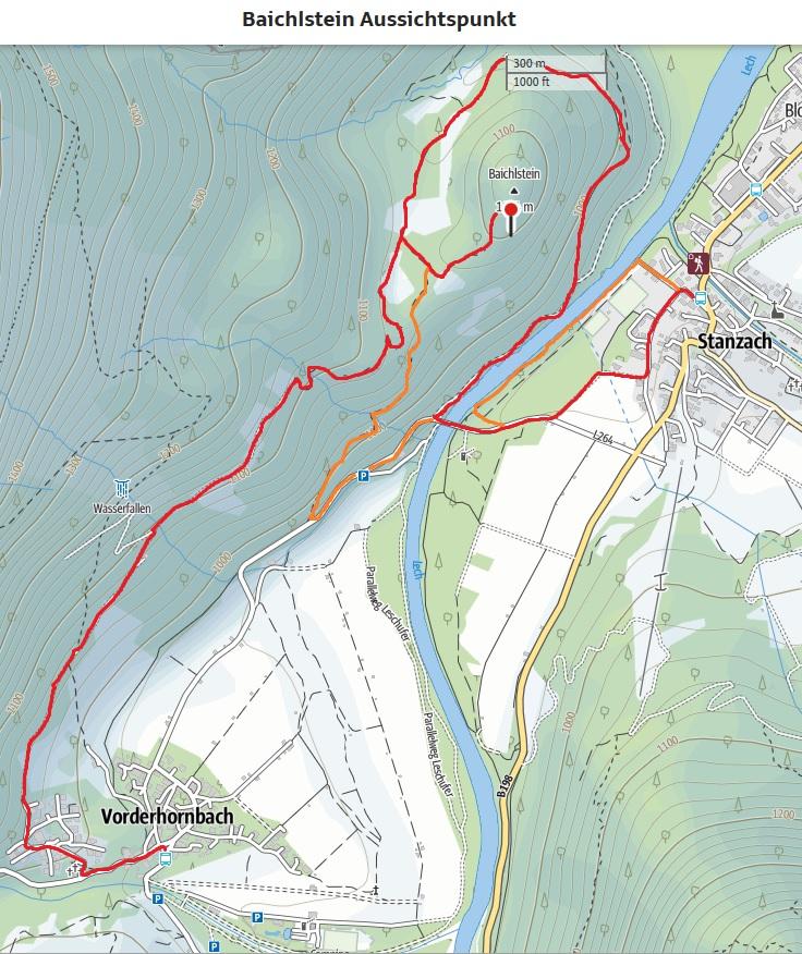 Dorfstube Wanderkarte Baichlstein Stanzach