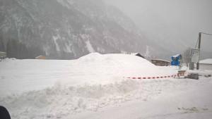 Kunstschneelager für den Schneemann in Holzgau im Lechtal.