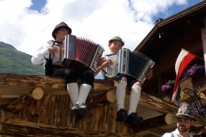 Boys from Tyrol playing accordion