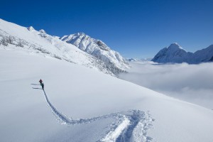 Skitouring in deep powder snow in Tyrol, Austria