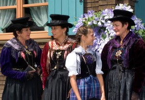 Women from Holzgau wear their traditional costume